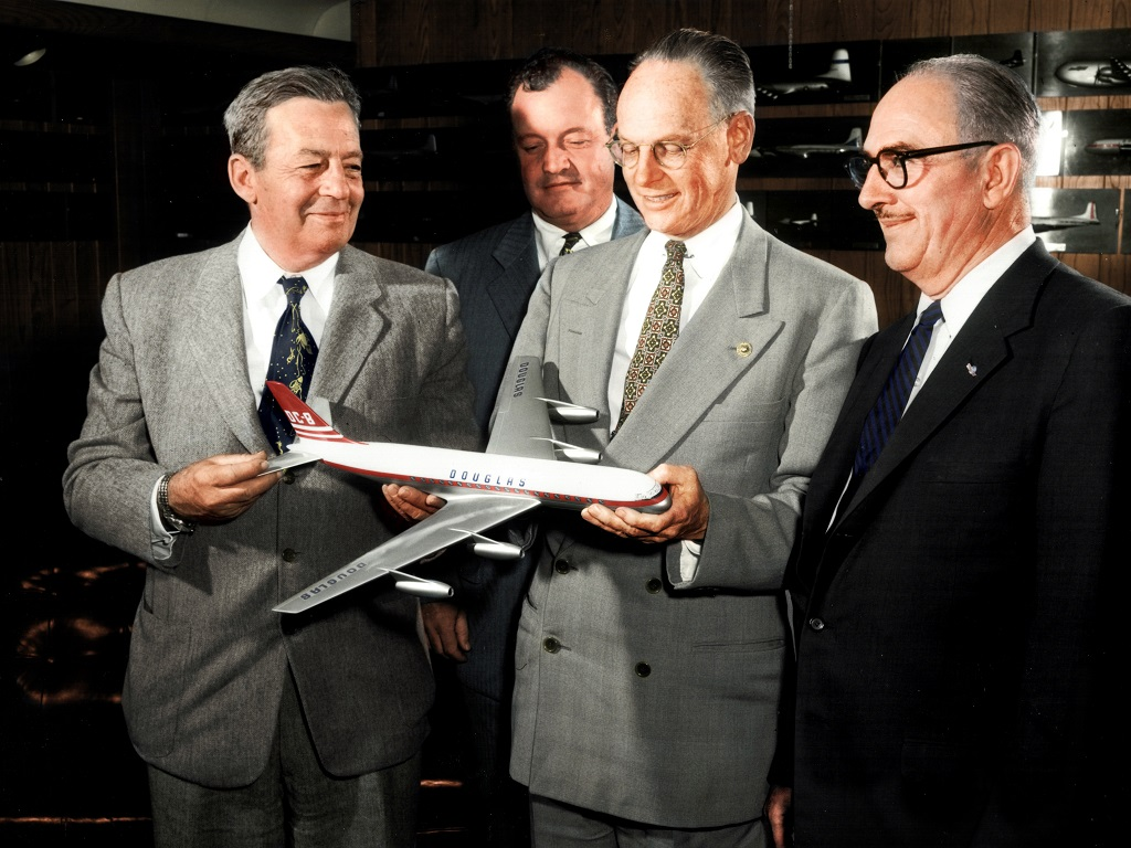Donald Douglas with Dc-8 model