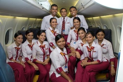 Cabin Crew in side a Maldivian Bombardier Dash 8 Q300  Picture: Maldivian