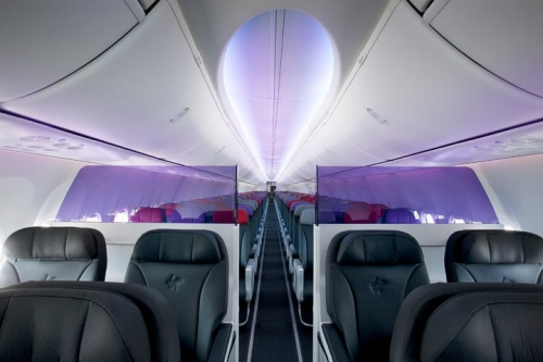 Virgin Australia 737-800 cabin with the new Boeing Sky Interior featuring Business and Economy Class