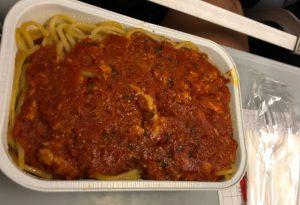 A spaghetti chicken dish.