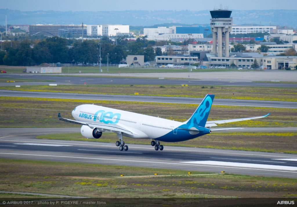 A330neo landing first flight