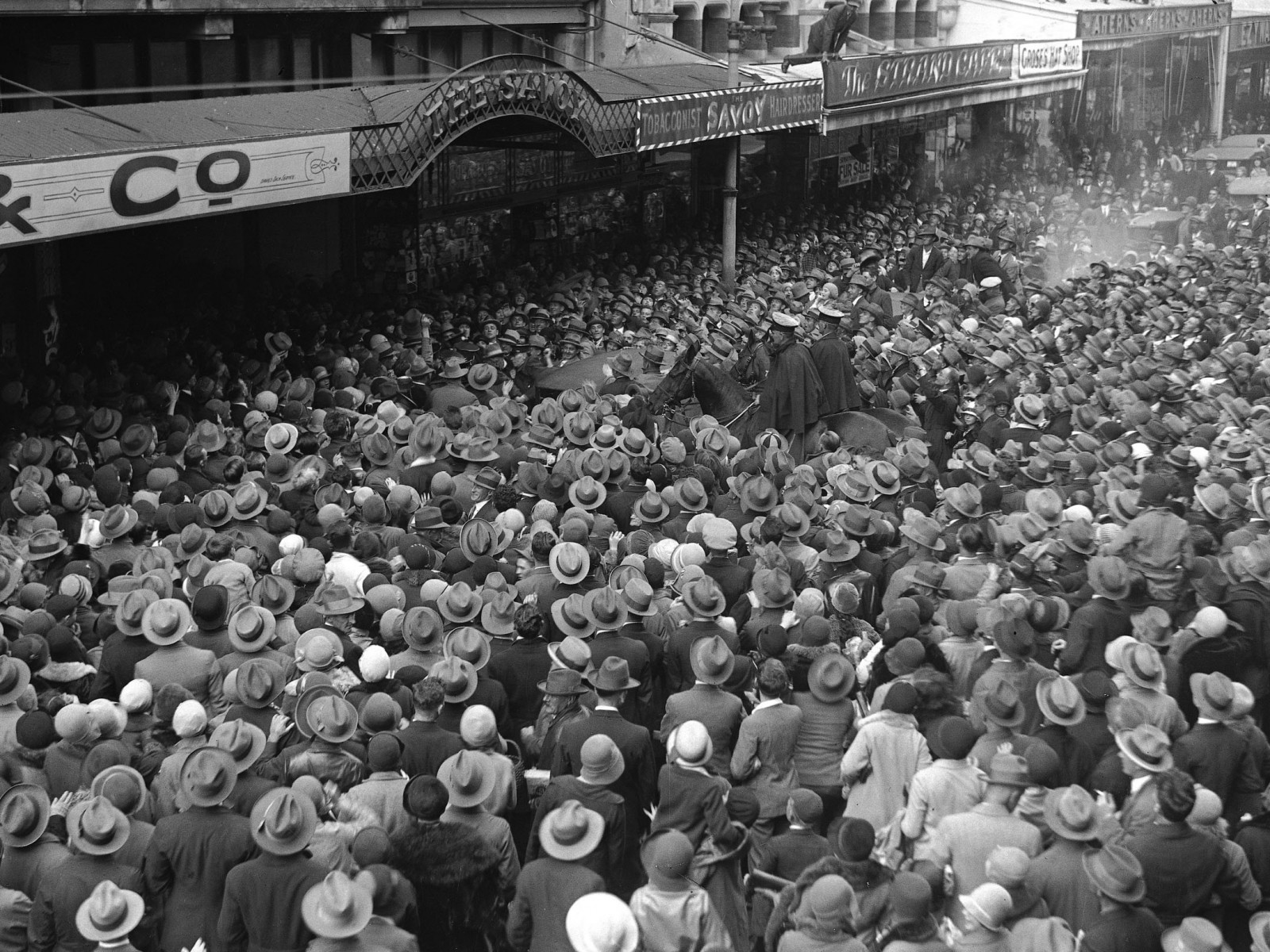 Crowds surge to get a glimpse of Amy Johnson