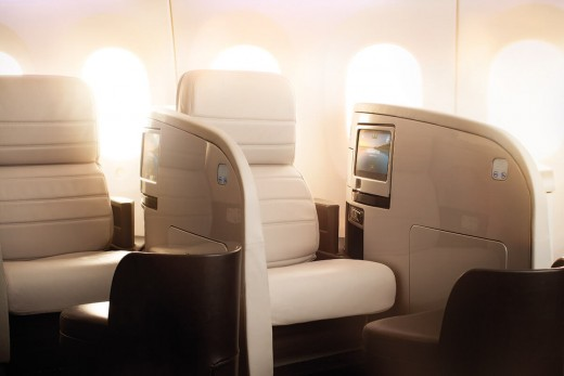 Air New Zealand business class on 787-9 aircraft