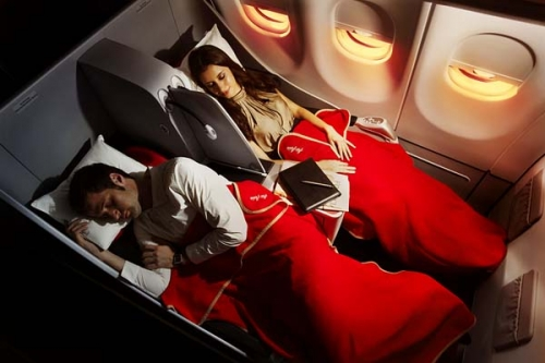 AirAsia X Business Class angled flat beds Picture: Facebook/ AirAsia