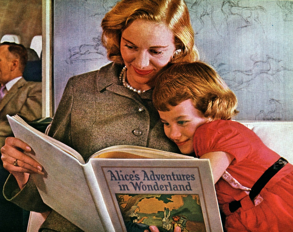 Mothers would read to their children on planes