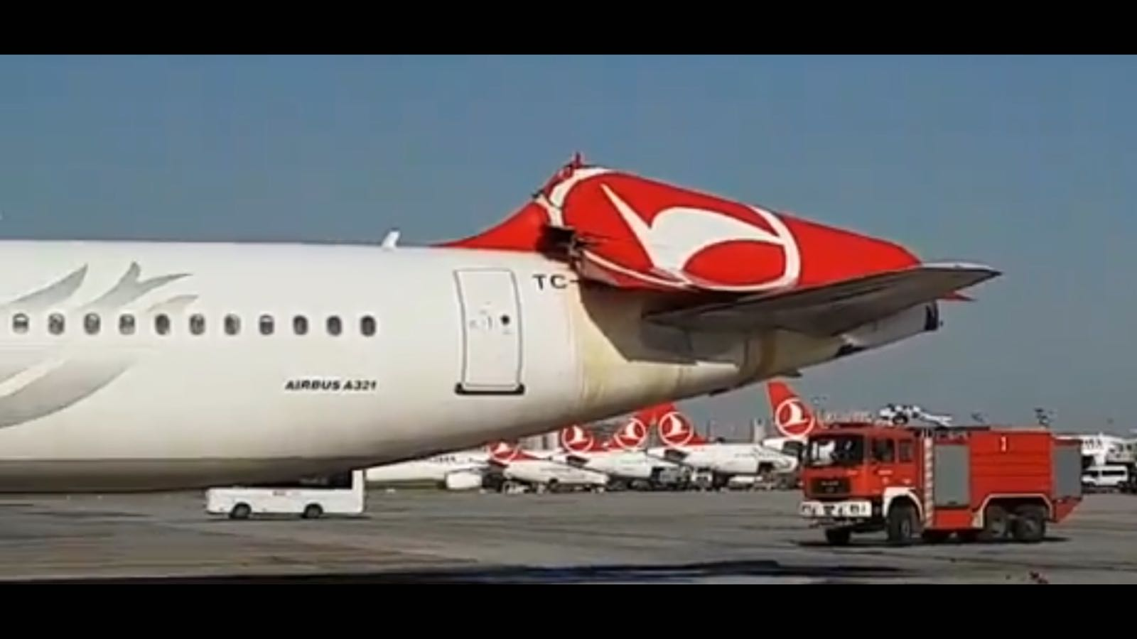 Turkish airlines plane tail smashed in dramatic collision at Istanbul Intl' Airport