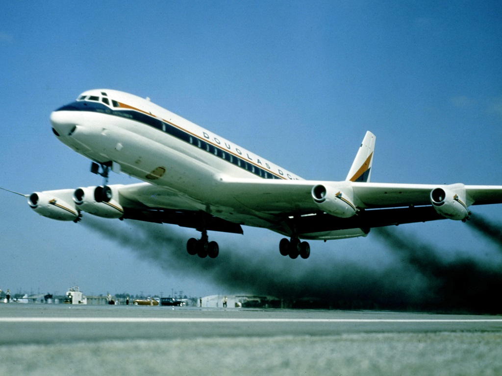 Douglas DC-8 takes to the air in 1958