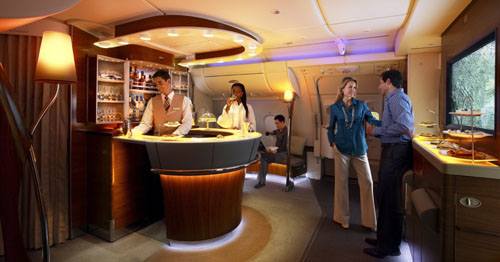 Emirates Business and First Class Lounge on the A380  Picture: Emirates