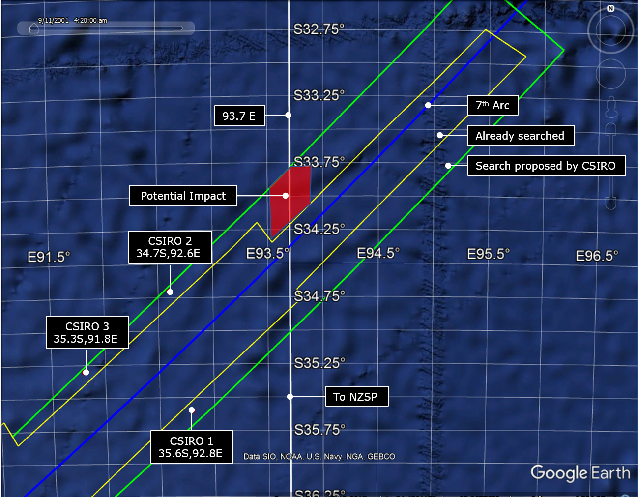 MH370 search graphic