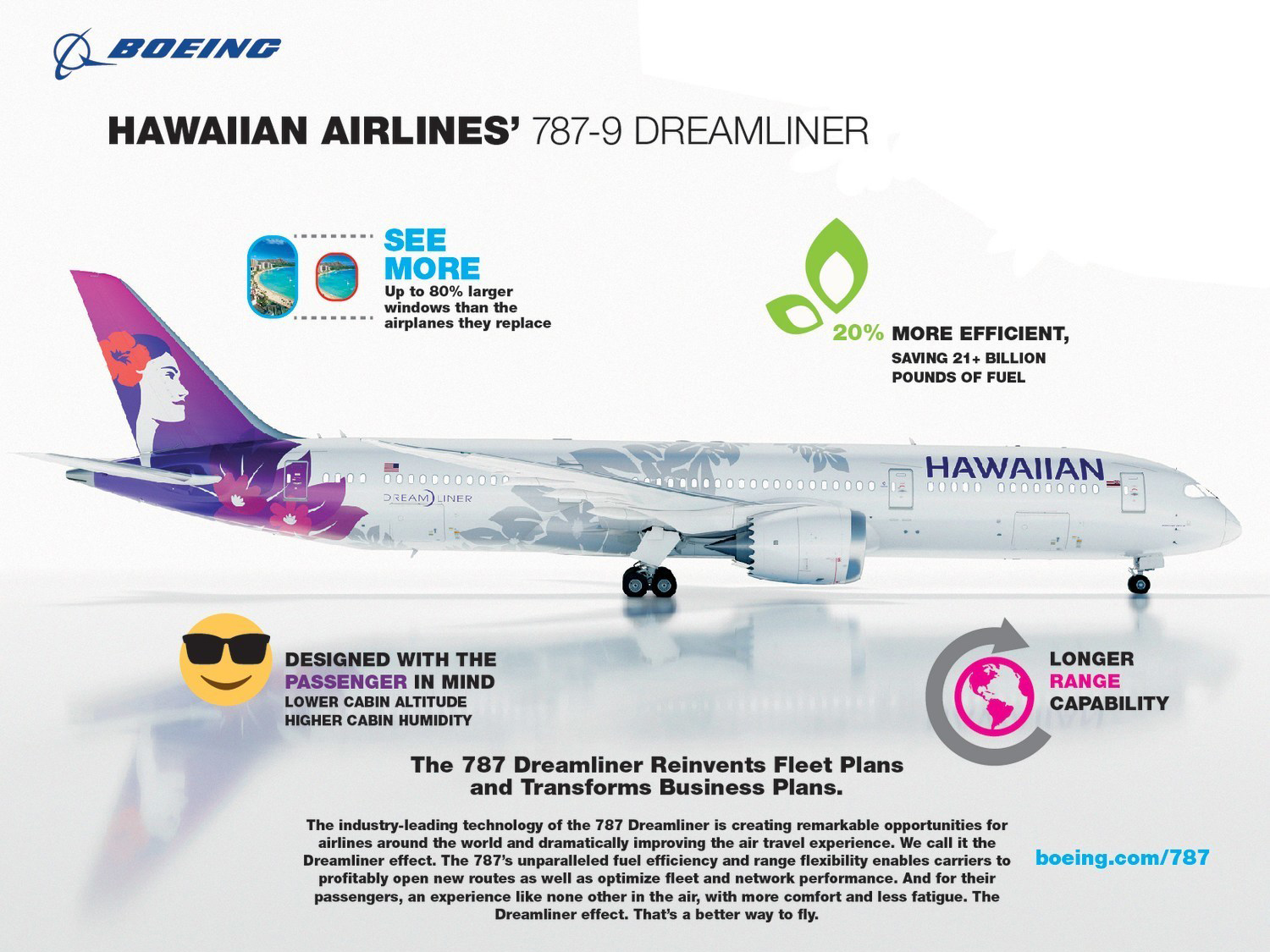 Hawaiian Airlines 787 info graphic