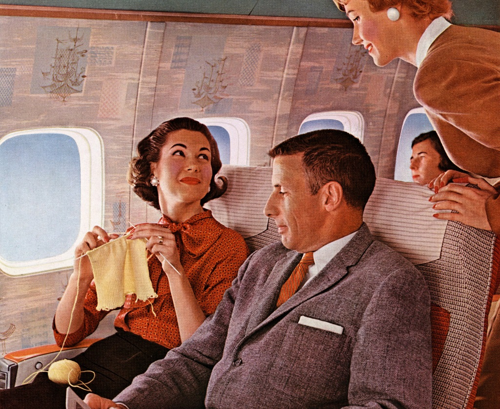 Ladies knitting on a Boeing 707