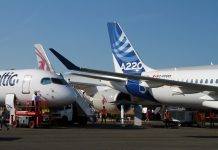 Airbus planes at the Farnborough Air Show
