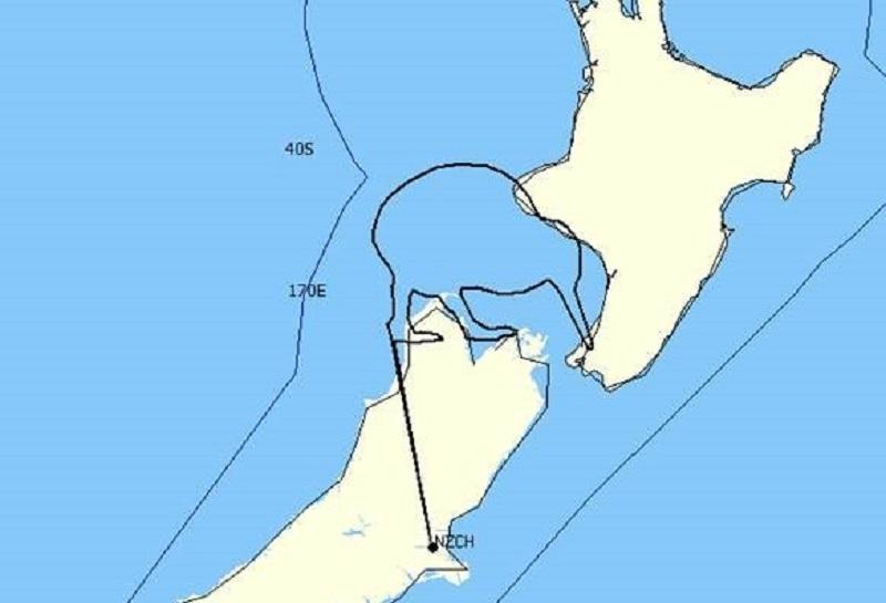 Kiwi flight path