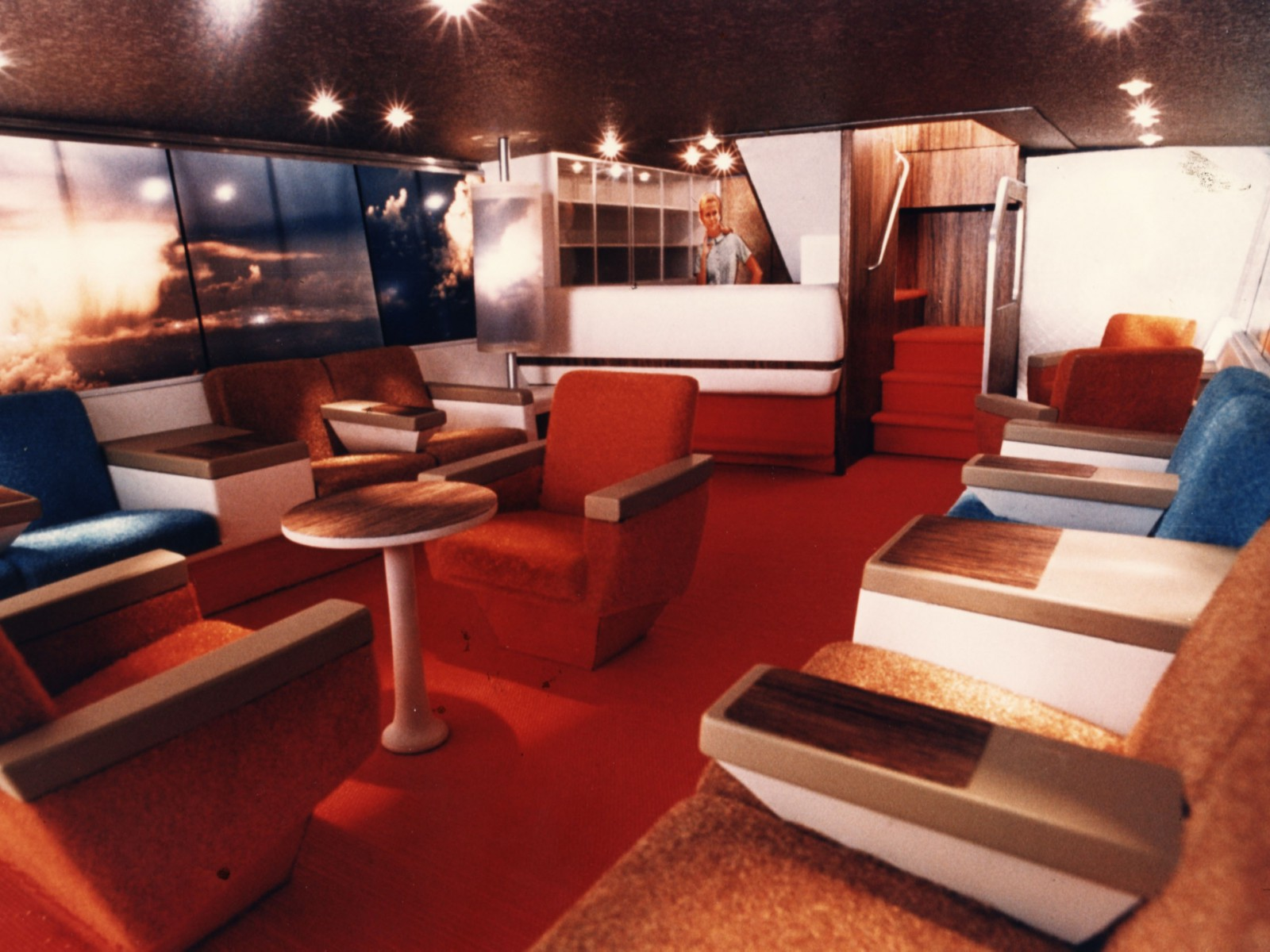Lockheed's lower deck lounge was taken up by Pacific Southwest Airlines.