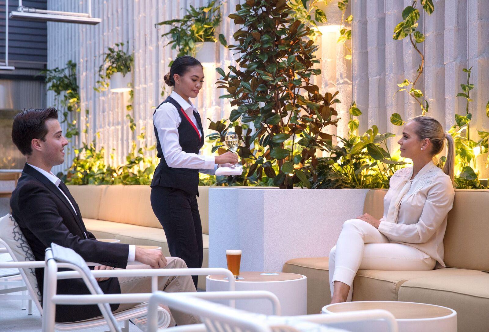 Qantas Perth Transit Lounge Outdoor BBQ area