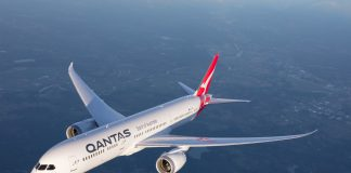 Qantas 787 jumbo farewell US