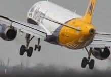 Monrach A320 performing crosswind landing