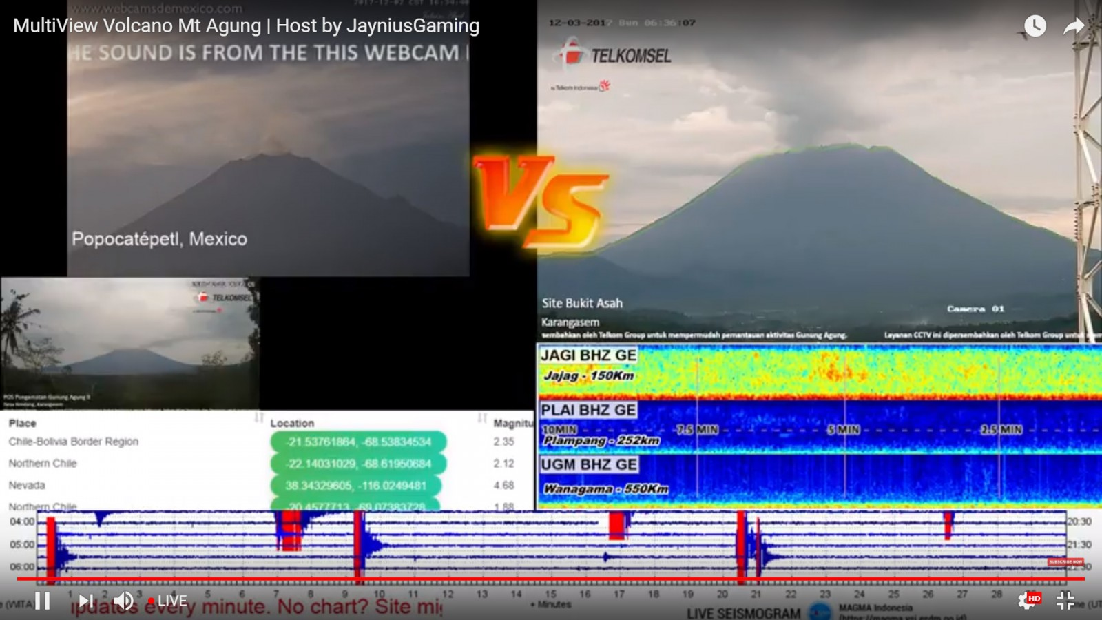 Live video cam feed of Bal's Mount Agung
