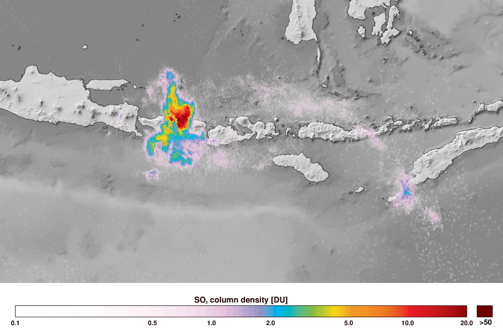 Copernicus Sentinel-5P satellite image of sulphur dioxide from the Mount Agung on Bali