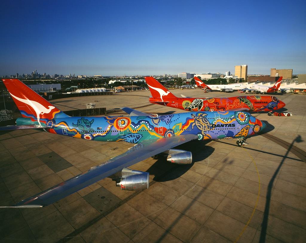 Qantas Indigenous designs Wunala Dreaming (background) and Nalanji Dreaming at Sydney Airport.