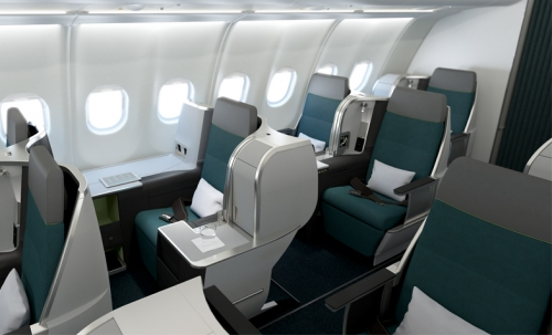 Business class cabin on the 757 and A330
