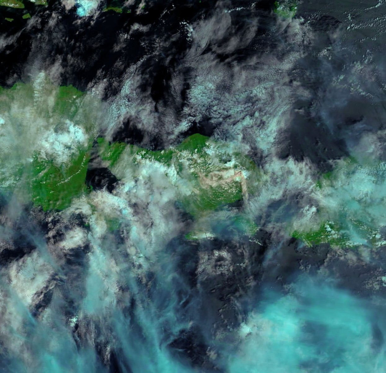 NASA Terra image of Mount Agung on Bali