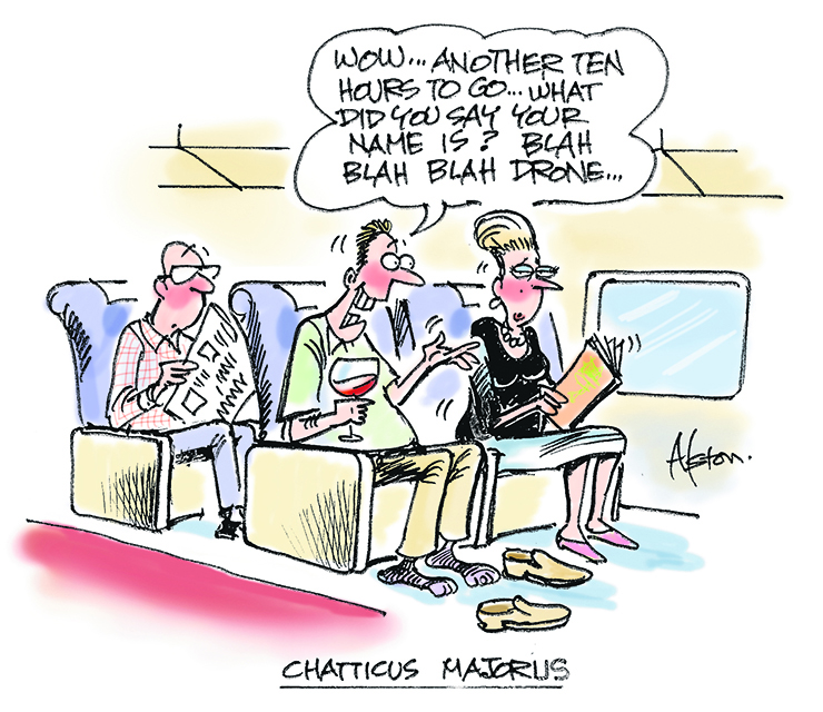 A passenger who talks continually is boring