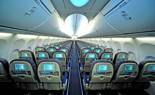Seat back in flight entertainment and Boeing Sky Interior  Picture: Fly Dubai