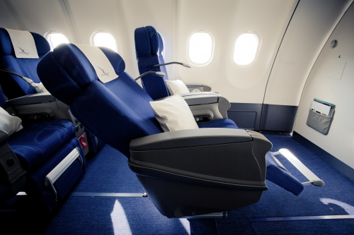 Edelweiss long haul Business Class seat recline Picture: Edelweiss